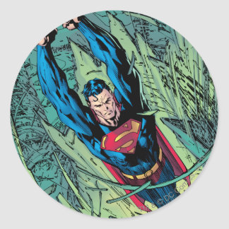 Superman breaks through round sticker