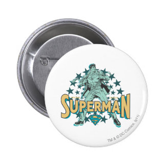 Superman changes with stars 2 inch round button
