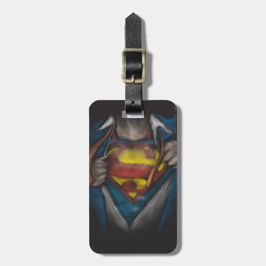 Superman   Chest Reveal Sketch Colorized Luggage Tag