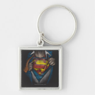 Superman Chest Sketch 2 Silver-Colored Square Keychain