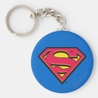 Superman Classic Logo Basic Round Button Keychain
