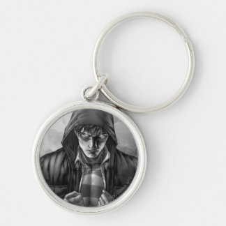 Superman Earth Cover - Black and White Silver-Colored Round Keychain