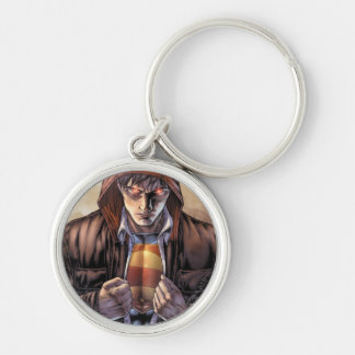 Superman Earth Cover - Color Silver-Colored Round Keychain