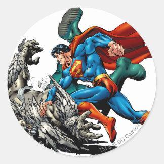 Superman Fights Monster Classic Round Sticker