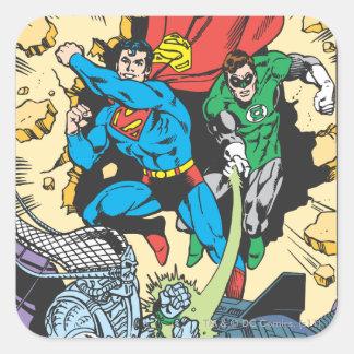 Superman & Green Lantern Fight Brainiac Square Sticker