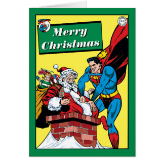 Superman Helping Santa Claus Down The Chimney Card