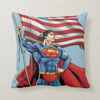 Superman Holding US Flag Pillows