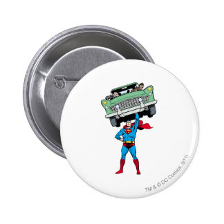 Superman holds a car 2 inch round button