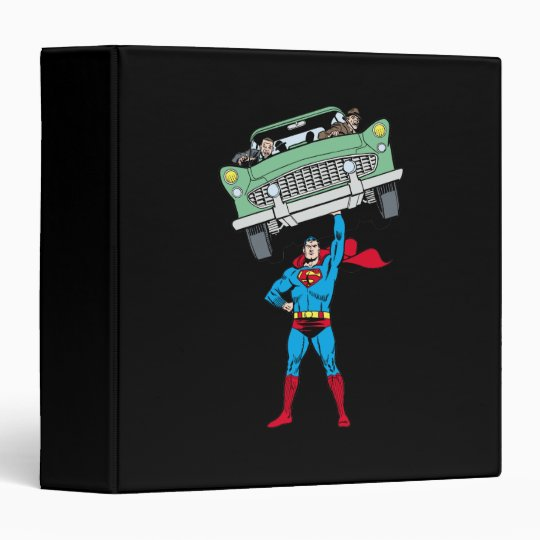 Superman holds a car 3 ring binders