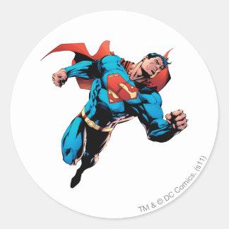 Superman in suit round sticker