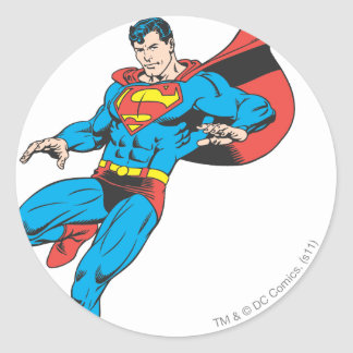 Superman Lands Lightly 2 Classic Round Sticker