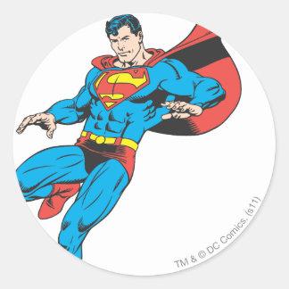 Superman Lands Lightly 2 Round Sticker