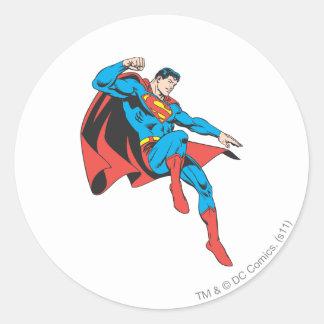 Superman Lands Lightly Round Sticker