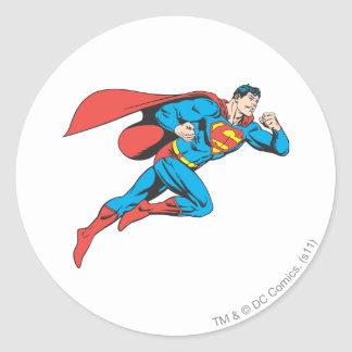 Superman Leaps Right Classic Round Sticker