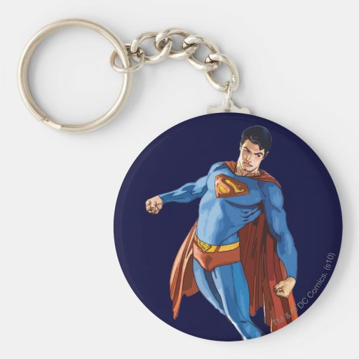 Superman Looking Down Basic Round Button Keychain