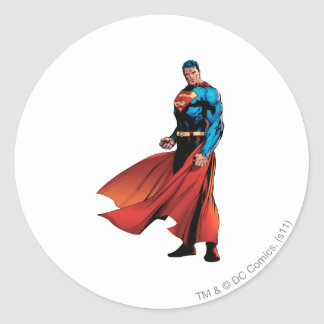 Superman Looks Front Classic Round Sticker