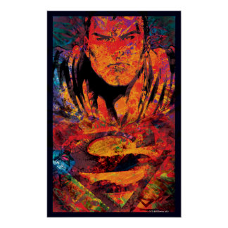 Superman Orange Grunge Poster