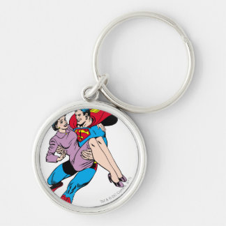 Superman rescues Louis Silver-Colored Round Keychain