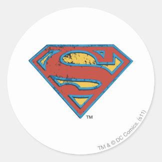 Superman S-Shield | Blue Outline Grunge Logo Round Sticker