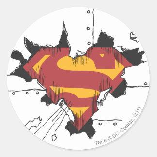 Superman S-Shield | Broken Metal Logo Round Sticker