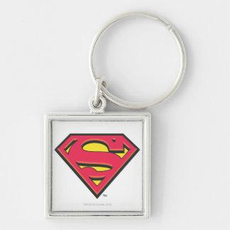 Superman S-Shield | Classic Logo Silver-Colored Square Keychain