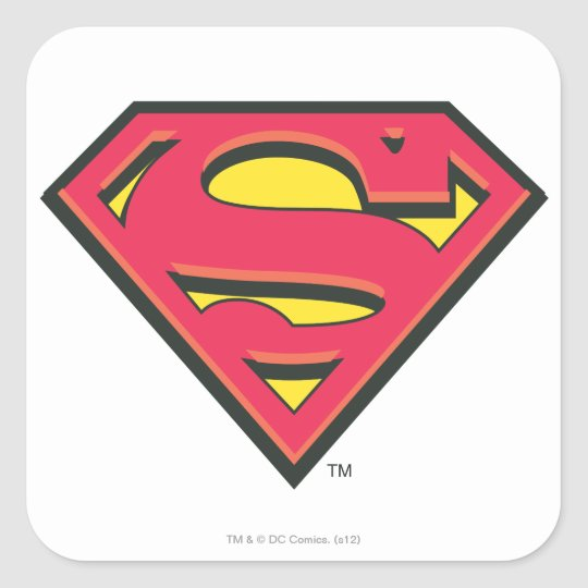 Superman s shield classic logo square sticker