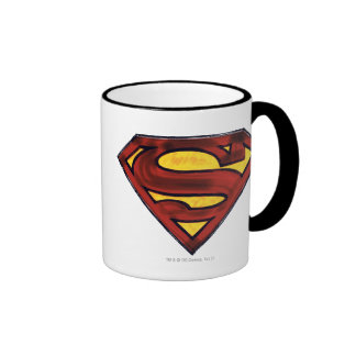 Superman S-Shield | Darkened Red Logo Ringer Coffee Mug