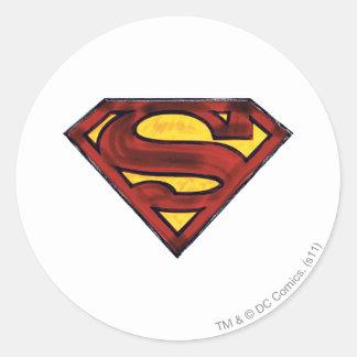 Superman S-Shield | Darkened Red Logo Round Sticker