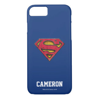 Superman S-Shield   Distressed Logo   Add Name iPhone 7 Case