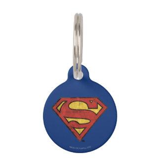 Superman S-Shield | Grunge Black Outline Logo Pet Name Tag