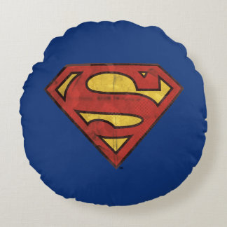 Superman S-Shield | Grunge Black Outline Logo Round Pillow