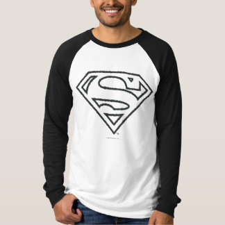 Superman S-Shield | Grunge Black Outline Logo T-Shirt