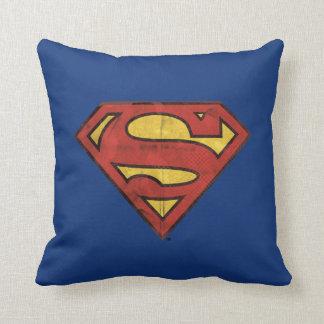 Superman S-Shield | Grunge Black Outline Logo Throw Pillow
