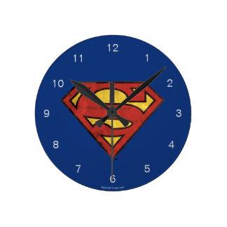 Superman S-Shield | Grunge Black Outline Logo Wallclocks
