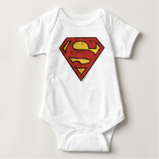 Superman S-Shield | Grunge Logo Baby Bodysuit