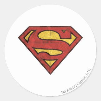 Superman S-Shield | Grunge Logo Round Sticker