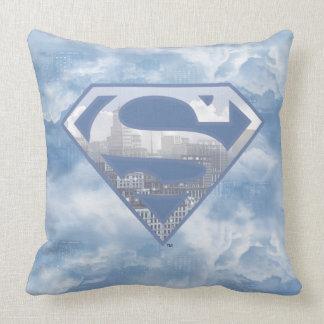Superman S-Shield   Light Blue City Logo Throw Pillow
