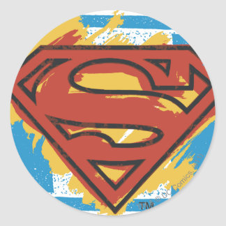 Superman S-Shield | Painted Blue Background Logo Round Sticker
