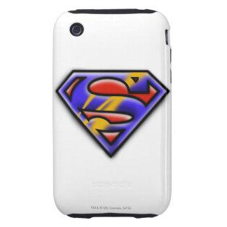Superman S-Shield   Purple Airbrush Logo iPhone 3 Tough Cases