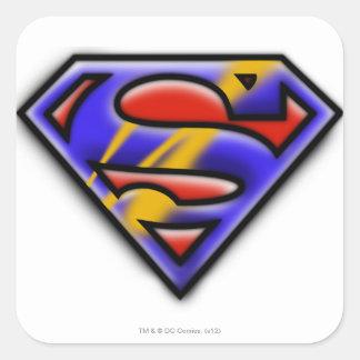 Superman S-Shield | Purple Airbrush Logo Square Sticker