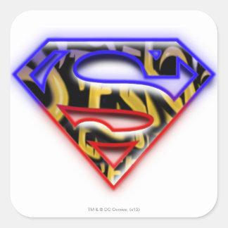 Superman S-Shield | Purple-Red Graffiti Logo Square Sticker