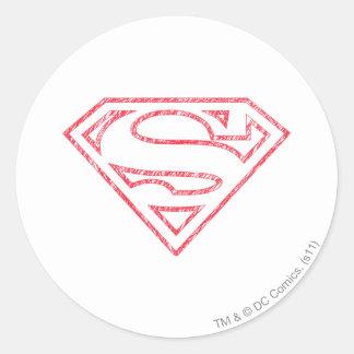 Superman S-Shield | Red Outline Logo Round Sticker