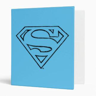 Superman S-Shield | Simple Black Outline Logo 3 Ring Binders