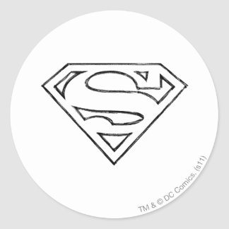 Superman S-Shield | Simple Black Outline Logo Classic Round Sticker