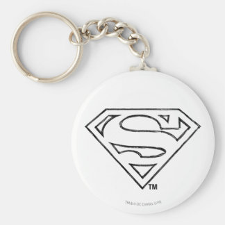 Superman S-Shield | Simple Black Outline Logo Keychain