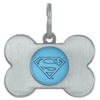Superman S-Shield | Simple Black Outline Logo Pet ID Tag