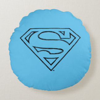 Superman S-Shield | Simple Black Outline Logo Round Pillow