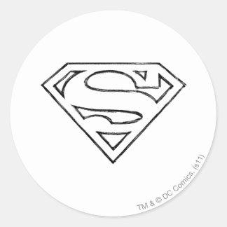 Superman S-Shield | Simple Black Outline Logo Round Sticker