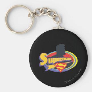 Superman Silhouette Basic Round Button Keychain