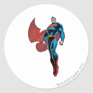 Superman Stands Tall Classic Round Sticker